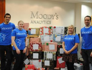 Moody's Analytics staff wrapping Christmas hampers for LifeCare Edinburgh - corporate volunteering