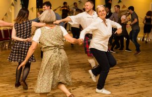 Dancing in George Young Hall function room for hire (capacity 100). Ideal for parties and ceilidhs in Stockbridge, Edinburgh
