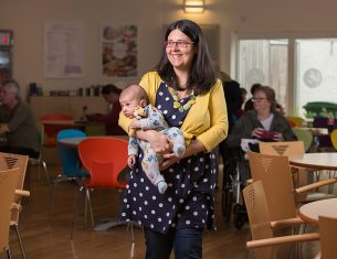 A mother and baby enjoying the great accessible facilities at the LifeCare Centre in Edinburgh