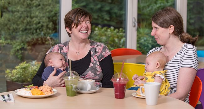 Mums and babies at CafeLife in the LifeCare Centre, Stockbridge, Edinburgh